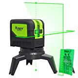 Cross Line Laser Level with 2 Plumb Dots - Huepar 9211G Green Beam Self Leveling 180-Degree Vertical Line and Horizontal Line with Plumb Dots, Multi-Use Self-Leveling Alignment Laser Level
