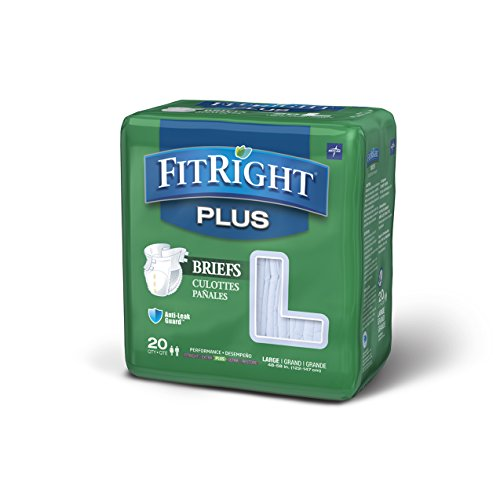 FitRight Plus Adult Diapers, Disposable Incontinence Briefs with Tabs, Moderate Absorbency, Large, 48'-58', 4 packs of 20 (80 total)