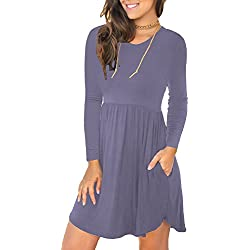 LONGYUAN Women's Long Sleeve Loose Plain Dresses Casual Short Swing Dress with Pockets Purple Gray Large