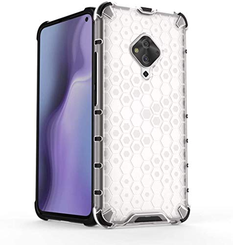 Cassby Shock Proof Dual Layer Hybrid Armor Back Cover Case with Honeycomb Pattern for Vivo S1 Pro - Transparent 4