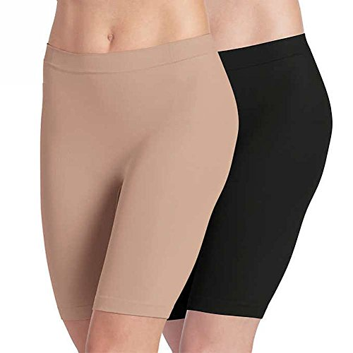 Jockey Ladies' Skimmies Slip Short Smooth Lightweight Mid-Length , 2 Pack (Large)Black - Light Nude