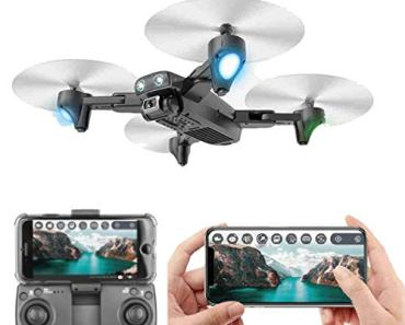 SUPER TOY Foldable Drone with Dual Camera HD Wide Angle Lens Optical Flow Positioning with 1200Mah Battery WiFi FPV 4-Axis Aerial Drone with Dual Flash Lights Remote Control Drone