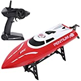 SGILE RC Race Boat, 25 KM/H Rechargeable Remote Control Boat for Adult Kids in Pool, 2.4 GHz 180° Flip High-Speed Boat Toy, Red