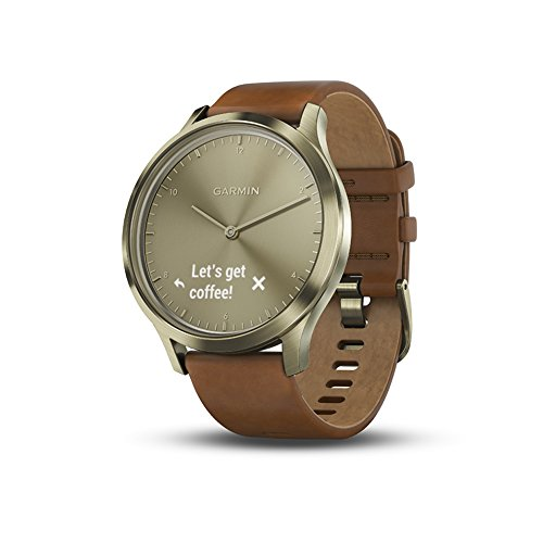 Garmin-vvomove-HR-Hybrid-Smartwatch-for-Men-and-Women-SmallMedium-Gold-with-Leather-Band