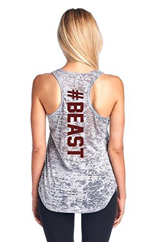 Tough Cookie's Women's #Beast Burnout Tank Top (Small - LF, Heather Grey)