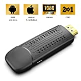 [2019 New] Wireless and Wired 2 in 1 Display Dongle 1080P HDMI Display Receiver for TV Projector, Compatible with Android Smartphones/iOS iPhone IPad/Mac/Laptop, Support Airplay DLNA Miracast