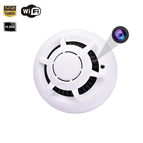 1080P WiFi Fire Alarm Detector Spy Camera, Smart APP Control 140 Degree Wireless Network Smoke Detect Nanny Cam Video Recorder support 64GB SD Card[not included]