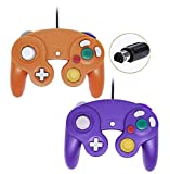 Poulep Wired Controller For Gamecube Game Cube, Classic Ngc Gamepad Joystick For Wii Nintendo Console (Orange and Purple,Pack Of 2)