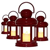 Decorative Lanterns Soft Flickering LED Candle Light Red Glass Mounted Lanterns for Weddings and Home Decor Indoor and Outdoor Use 7.5 Inches High 4 Pack