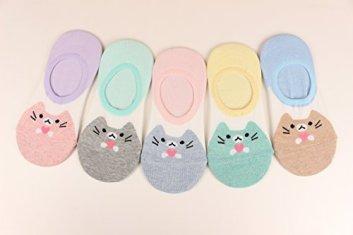 WOWFOOT-Women-Animal-Design-No-Show-Casual-Liner-Socks-Character-Print-Non-Slip-Flat-Boat-Line-4-Pair