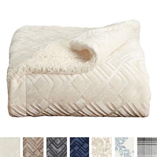 Home Fashion Designs Premium Reversible Sherpa and Sculpted Velvet Plush Luxury Blanket. Fuzzy, Soft, Warm Berber Fleece Bed Blanket Brand. (Full/Queen, Winter White)