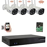 GW 8 Channel 5MP H.265 5X Motorized Zoom Wireless WiFi Security Camera System (NVR Kit) - 4 x 5MP HD 1920P Video & Audio Waterproof Wireless Cameras Built-in Microphone, 130FT IR Night Vision
