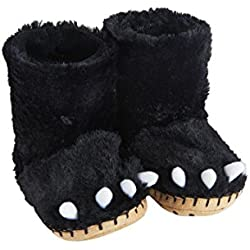 Little Blue House by Hatley Kids' Big Hi-top Slouch Animal Slipper, Black Bear Paws, X-Large (1-2)