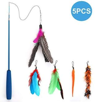 Becory-Feather-Teaser-Cat-Toy-Retractable-Cat-Feather-Toy-Wand-with-5-Assorted-Teaser-with-Bell-Refills-Interactive-Catcher-Teaser-for-Kitten-Or-Cat-Having-Fun-Exerciser-Playing
