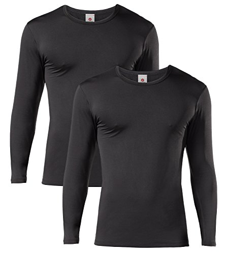 LAPASA Men's Lightweight Thermal Underwear Tops Fleece Lined Base Layer Long Sleeve Shirts 2 Pack M09 (Small, Black)