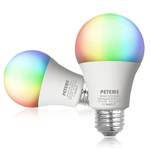 Smart LED Light Bulb E26 WiFi Multicolor Light Bulb Work with Alexa, Echo, Google Home and IFTTT (No Hub Required), Peteme A19 60W Equivalent RGB Color Changing Bulb (2 Pack)