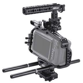 NITZE-BMPCC-4K-Full-Cage-Kit-for-Blackmagic-Pocket-Cinema-Camera-4K-with-NATO-HandleARRI-Standard-Dovetail-Baseplate-and-Rods-BTK01