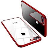TORRAS Crystal Clear iPhone 8 Plus Case/iPhone 7 Plus Case, [Upgraded] Soft TPU Cover Slim Gel Phone Case for iPhone 7 Plus/8 Plus, Red