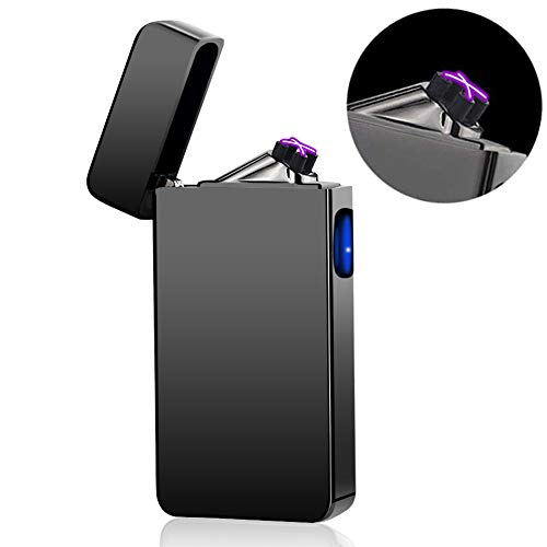 Dual Arc Plasma Lighter USB Rechargeable Windproof Flameless Butane Free Electric Lighter for Cigar,Candle (Black)