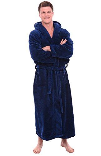 Alexander Del Rossa Men's Robe with Hood - Premium Fleece Bathrobe, Big and Tall, 1XL 2XL Navy Blue (A0125NBL2X)
