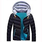 Black Friday Sales 2018 Clothes GOVOW Detachable Coat Hood For Men Zipper Coat Outwear Jacket Top Winter Pullover(US:14/CN:XXXL,Blue)
