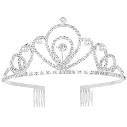 Silver-Costume-princess-crown-With-Comb-Pin-For-Girls-Women-Crystal-Bridal-wedding-Tiara