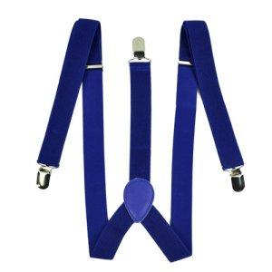 Zeagoo Men Women Clip-on Suspenders Elastic Y-Shape Adjustable Braces Solids Blue