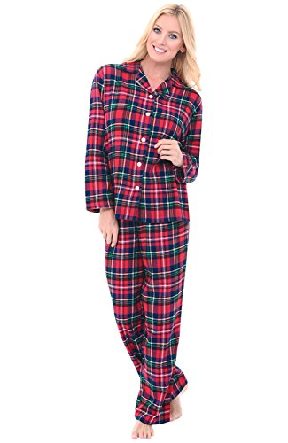 Alexander Del Rossa Women's Warm Flannel Pajama Set, Long Button Down Cotton Pjs, XL Red and Green Christmas Plaid (A0509Q19XL)