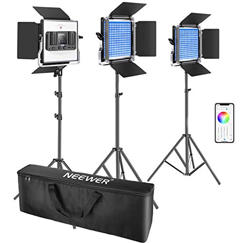 Neewer-3-Packs-480-RGB-Led-Light-with-APP-Control-Photography-Video-Lighting-Kit-with-Stands-and-Bag-480-SMD-LEDs-CRI953200K-5600KBrightness-0-1000-360-Adjustable-Colors9-Applicable-Scenes