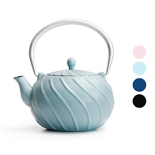 Tea Kettle, Toptier Japanese Cast Iron Teapot with Stainless Steel Tea Infuser, Durable Cast Iron Kettle Set, Retro Design Tea Kettle Coated with Full Enameled Interior