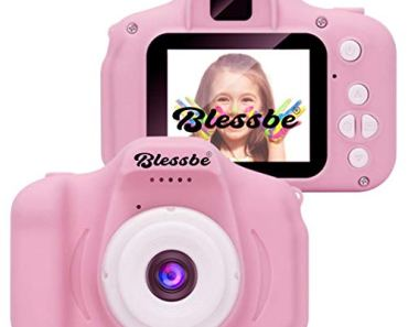 BLESSBE Kids Digital Camera, Web Camera for Computer Child Video Recorder Camera Full HD 1080P Handy Portable Camera 2.0 Screen, with Inbuilt Games for Kids (Pink)- BB15