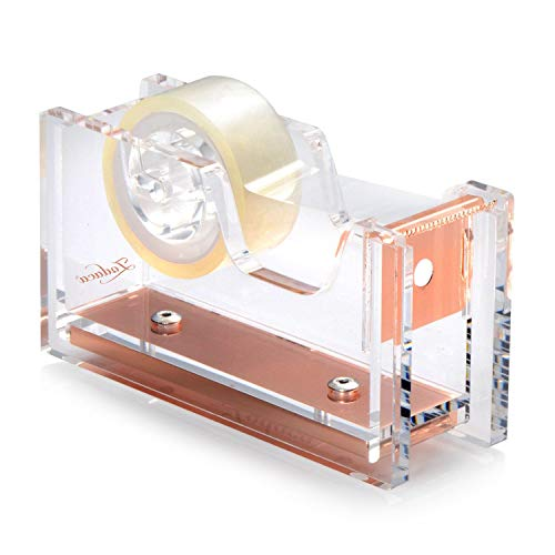 Acrylic Tape Dispenser, Zodaca Crystal Clear Deluxe Desktop Rose Gold Tape Dispenser, Medium Standard Size, for Tape below 3/4' with Tape included, Classic Design to Brighten up Your Desk and Office