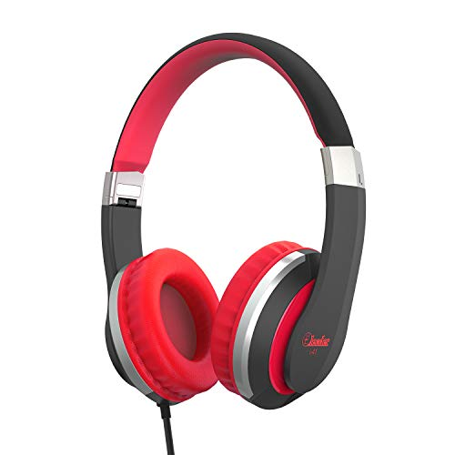 Kids Headphones Elecder i41 for Kids Children Girls Boys Teens Foldable Adjustable On Ear Headphones with 3.5mm Jack for iPad Cellphones Computer MP3/4 Kindle Airplane School(Red/Black)