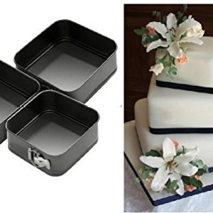 New Three Piece Springform Non Stick Square Pan Set Tray Tins 24/26/28Cm Cake Baking 41M9abMOwUL