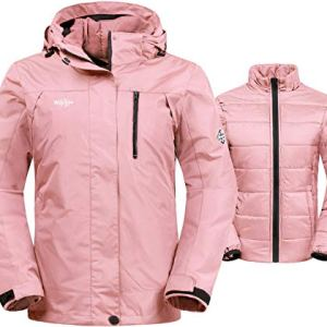 Wantdo Women's 3-in-1 Waterproof Ski Jacket Interchange Windproof Puffer Liner Warm Winter Coat Insulated Short Parka 5 Fashion Online Shop 🆓 Gifts for her Gifts for him womens full figure