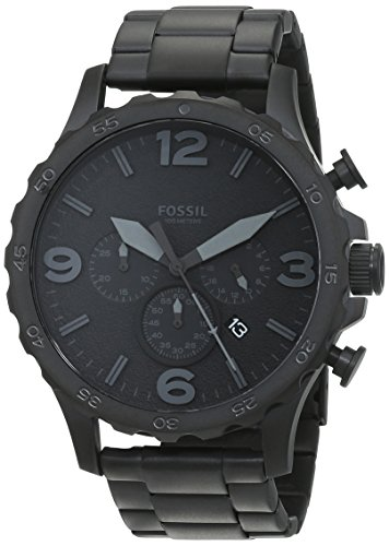 41MDmOojrIL Black watch featuring round matte dial with date window, sword-shape hands, and three subdials 50 mm stainless steel case and mineral dial window Quartz movement with analog display