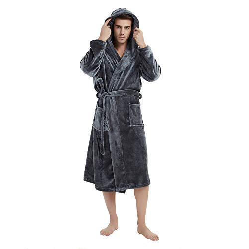 U2SKIIN Mens Fleece Hooded Robe Plush Bathrobe (Dark Grey, L/XL)
