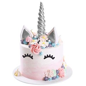 Opret Unicorn Cake Topper, Handmade Silver Unicorn Cake Decoration Set with Horn, Ears and Eyelashes for Birthday Party, Baby Shower and Wedding 41MJo2pkYsL