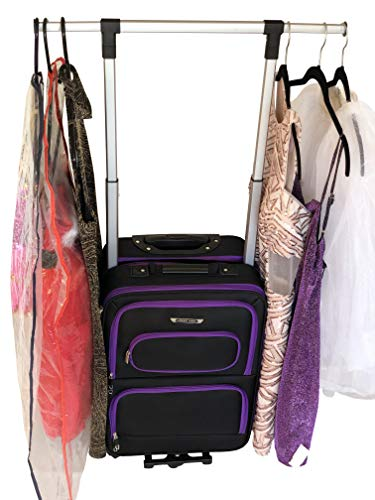 The Dance Angel Suitcase Carry-On Purple and Black'Purple Reign' (Rolling Dance Bag With Costume Rack)