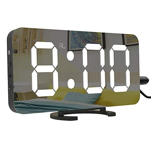 LightBiz Large Display Alarm Clock, Digital Clock Large 6.5' Easy-Read LED Display, Diming Mode, Easy Snooze Function, Mirror Surface, Dual USB Charger Ports