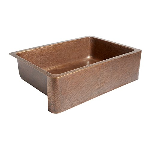 Adams Farmhouse Apron Front Handmade Copper Kitchen Sink 33 in. Single...
