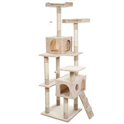PETMAKER Skyscraper Sleep & Play Cat Tree, 5.5 feet, Beige