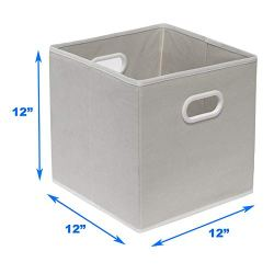 6 Pack – SimpleHouseware Foldable Cube Storage Bin with Handle, Grey (12-Inch Cube)