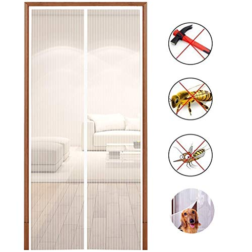 Magnetic Screen Door with Heavy Duty Mesh and Full Frame Velcro-Keep Bugs Out,Let Fresh Air in.Close Automaticlly.(Screen Size 36inchx83inch Fits 34inch Doors)