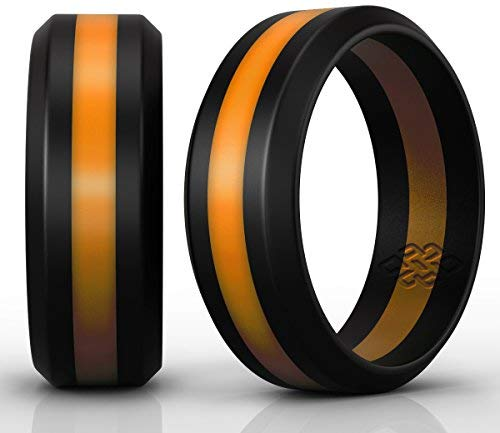 Knot Theory Silicone Wedding Ring Orange and Black Band - Size 10 Superior Rubber Rings - Premium Quality, Style, Safety, Comfort - Ideal Bands for Gym, Safe for Work, Hunting, Sports, and Travels