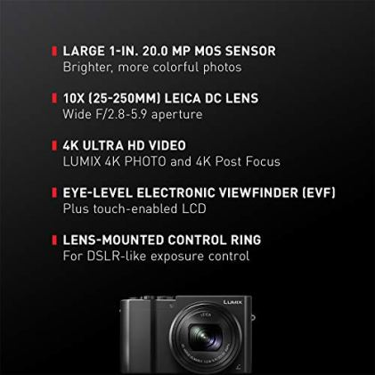 PANASONIC-LUMIX-ZS100-4K-Digital-Camera-201-Megapixel-1-Inch-Sensor-30p-Video-Camera-10X-LEICA-DC-VARIO-ELMARIT-Lens-F28-59-Aperture-HYBRID-OIS-Stabilization-3-Inch-LCD-DMC-ZS100K-Black