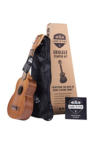 Official Kala Learn to Play Ukulele Soprano Starter Kit, Satin Mahogany - Includes online lessons, tuner app, and booklet (KALA-LTP-S)