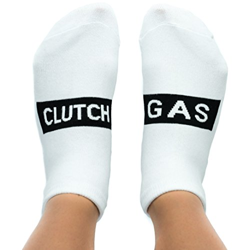 Gas Clutch Socks Unisex Funny Gag Gift for New Drivers, Student Drivers, JDM Fans, Auto, Car Enthusiasts (White)