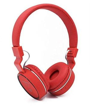 Welrock Sh12 Stretchable Foldable Wireless/Bluetooth Headphone with Fm Inbuilt Microphone and SD Card Slot (Red)