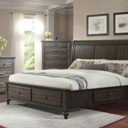 Cambridge Newport Storage 5-Piece Ash Brown: Queen Bed, Dresser, Mirror, Chest, Nightstand Bedroom Suite